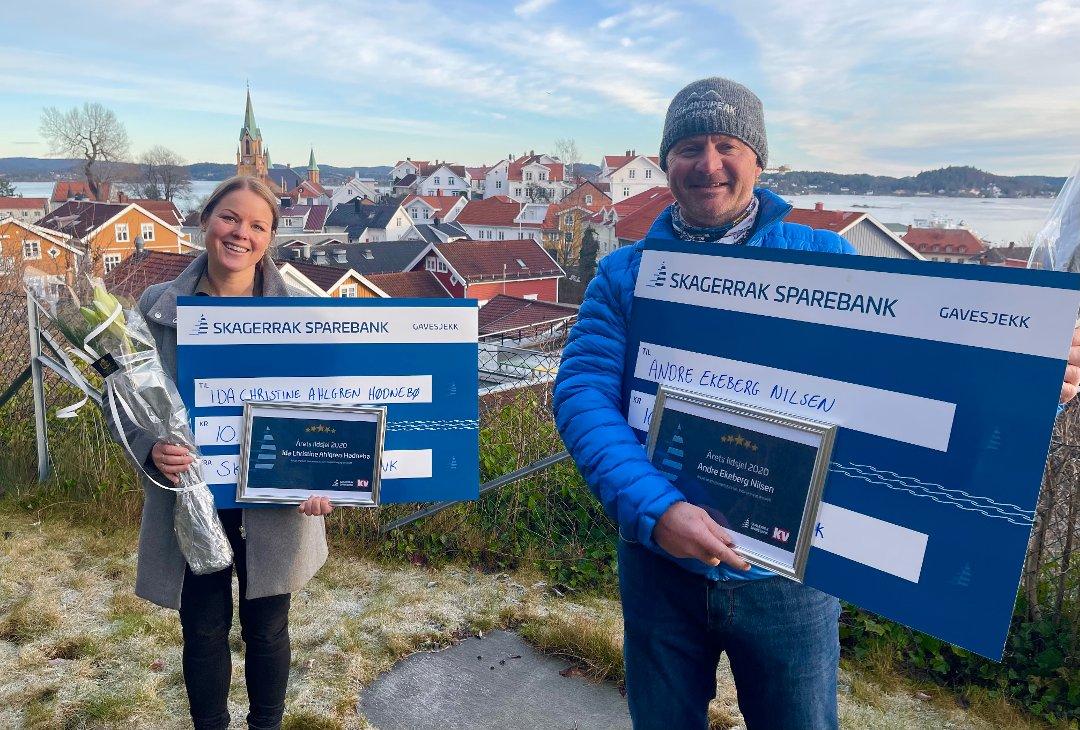 VINNERE: Ida Christine Ahlgren Hødnebø og Andre Ekeberg Nilsen er vinnere av Ildsjelprisen 2020. Foto: Sondre Lindhagen Nilssen